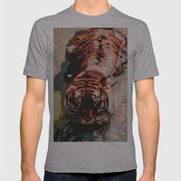 Tiger in the Water Painting Mens Fitted Tee Athletic Grey SMALL