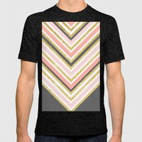 Stylish boho gray pink coral gold faux glitter chevron Mens Fitted Tee Tri-Black SMALL