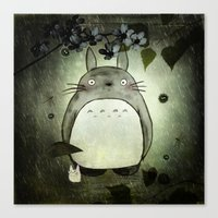 Totoro In The Rain Canvas Print