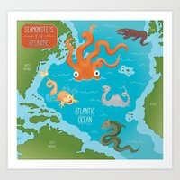 Seamonsters Of The Atlan… Art Print