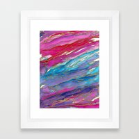 AGATE MAGIC PinkAqua Red Lavender, Marble Geode Natural Stone Inspired Watercolor Abstract Painting Framed Art Print