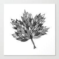 Zentangle Leaf Canvas Print