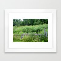 Fence Overgrown Framed Art Print