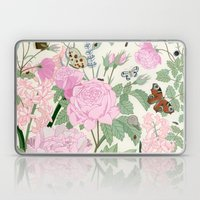 Pink Flowers And Butterf… Laptop & iPad Skin