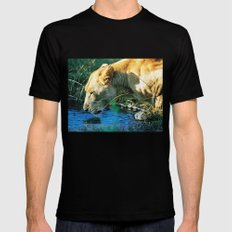 Lion Drinking Mens Fitted Tee Black SMALL