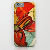 iPhone Cases featuring Pretty Beetles by Connie Goldman