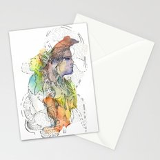 Abstract Portrait Illustration Watercolor Painting  Stationery Cards