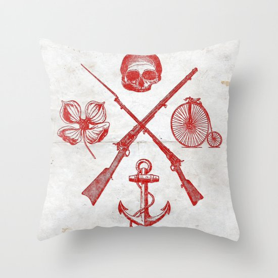 Skull Flower Rifle Bicycle Anchor – Badge Throw Pillow