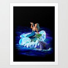Mermaid with Dolphin Art Print
