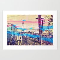 San Fran-See-Peaks - Sutro tower on Stereoid in the mission district, San Francisco Art Print