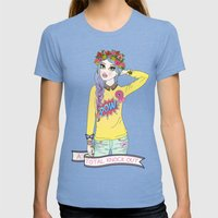 Total Knock Out Womens Fitted Tee Tri-Blue SMALL