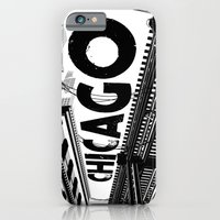 iPhone & iPod Case featuring Cities in Black - Chicago by SketchbookJack