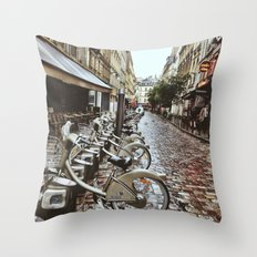 Cycling in Paris Throw Pillow