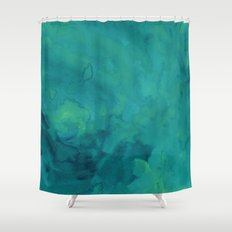 Watercolor green and blue Shower Curtain