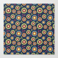 Jolly Blooms [Blue] Canvas Print