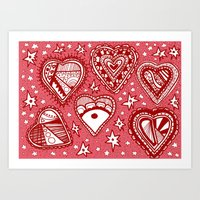 Love Hearts Pink Art Print