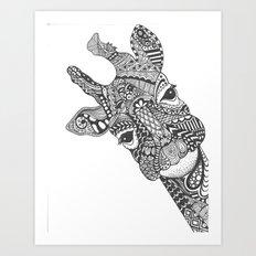 Zentangle Giraffe Art Print