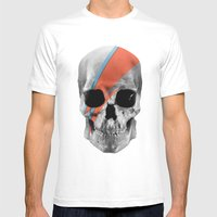 Skull Bowie Mens Fitted Tee White SMALL