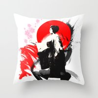 Japanese Geisha - Sakura… Throw Pillow