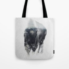 Bison In Mist Tote Bag