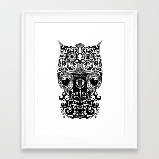 The Old Owl  - Black Framed Art Print