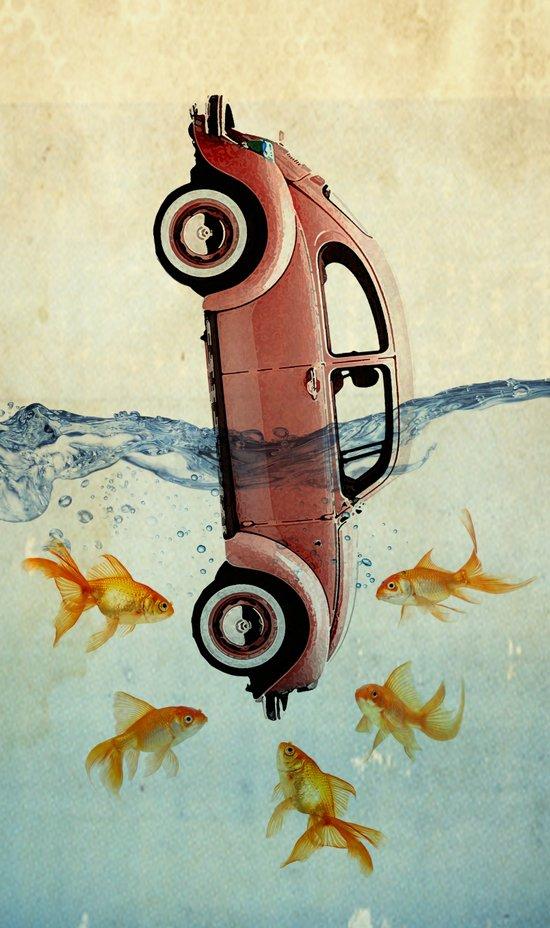 VW beetle and goldfish Art Print
