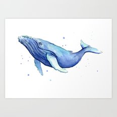 Humpback Whale Watercolor Painting | Whimsical Animal Art Art Print