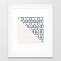 Black and Pink Crop Symmetry Framed Art Print