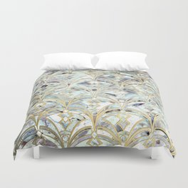 Duvet Cover - Pale Bright Mint and Sage Art Deco Marbling - micklyn