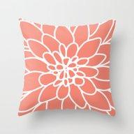 Coral Modern Dahlia Flow… Throw Pillow