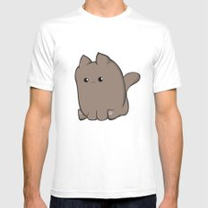 Cube Cat White Mens Fitted Tee SMALL