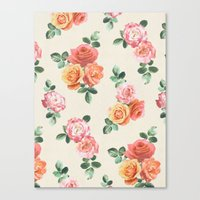 Retro Peach And Pink Ros… Canvas Print