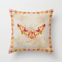 Floral Bat Throw Pillow