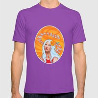 Hummingbird Girl with Orange Swirls Mens Fitted Tee Ultraviolet SMALL