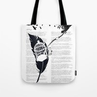 Vintage print with Edgar Alan Poe Poem and Raven Silhouette: Break Free Tote Bag
