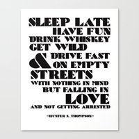 Sleep Late... Canvas Print