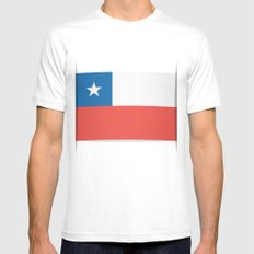Flag of Chile.  The slit in the paper with shadows. SMALL Mens Fitted Tee White