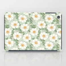 Sage pastel white green flowers blossom garden summer spring nature pattern painting florals iPad Case