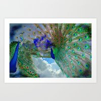 Peacocks In Clouds Art Print