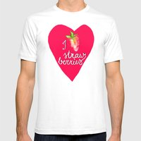 I Heart Strawberries Mens Fitted Tee White SMALL