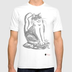 Geek Cat  SMALL White Mens Fitted Tee