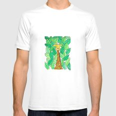 Watercolor Giraffe Mens Fitted Tee White SMALL