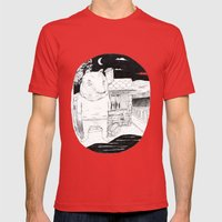 Night Bear  Mens Fitted Tee Red SMALL