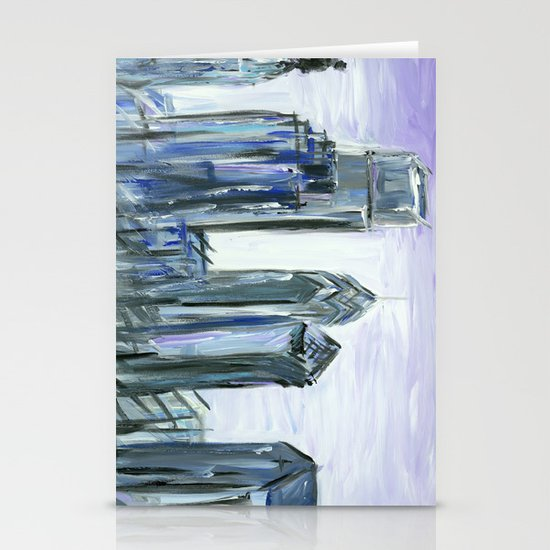 Gray Philadelphia Skyline Stationery Card
