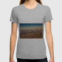 Mountains, snow and sky  from the air Womens Fitted Tee Athletic Grey SMALL