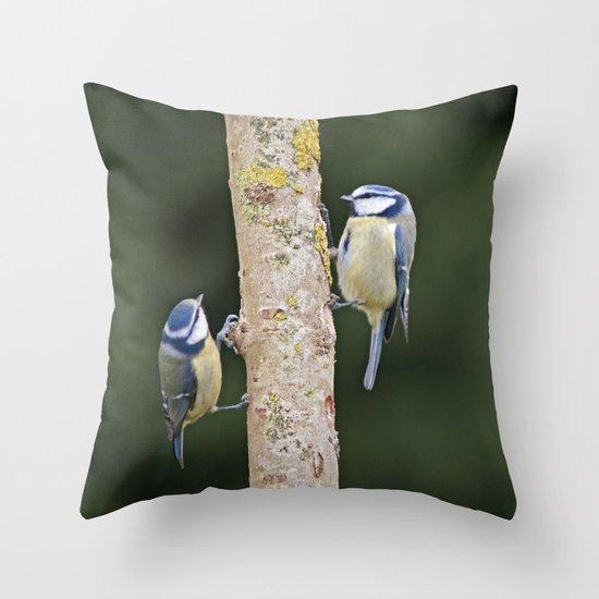 Blue Tit ( Cyanistes caeruleus) Throw Pillow