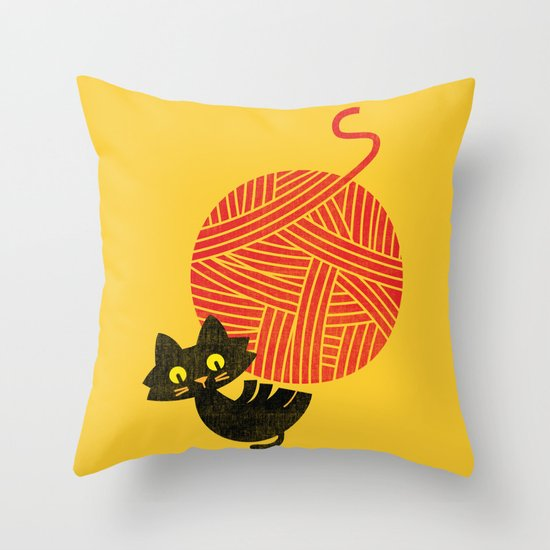 Fitz - Happiness (cat and yarn) Throw Pillow