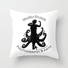 MadSea Nymph, black on white Throw Pillow