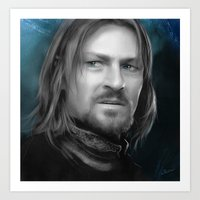lord of the rings Art Prints featuring Boromir - Lord of the Rings by Caim Thomas