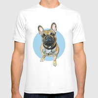 French Bulldog blue spot. Mens Fitted Tee White SMALL